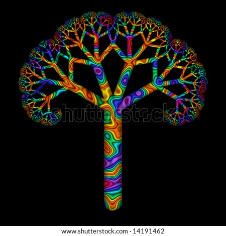 Stylized illustration of tree in rainbow colors. - stock photo
