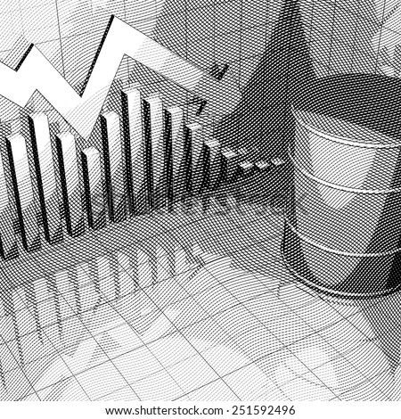 Stylized Illustration showing a stock market chart and one big oil can.