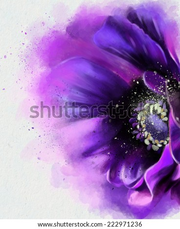 Stylized illustration watercolor poppies - stock photo
