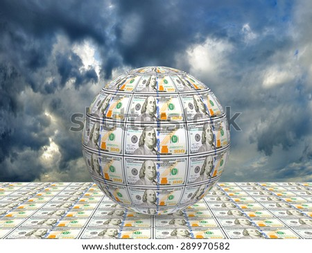 stylized image of the globe against the sky closeup - stock photo