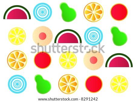 stylized japanese fruit jelly gum shapes - stock photo