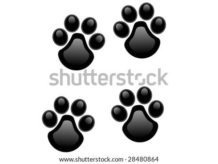 stylized lion paw prints - stock photo