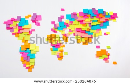 Stylized map of the world of colorful stickers - stock photo