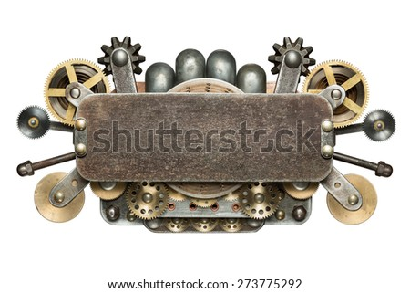 Stylized mechanical collage. Made of metal details. - stock photo
