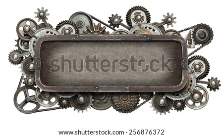 Stylized mechanical collage. Made of metal gears and textures. - stock photo