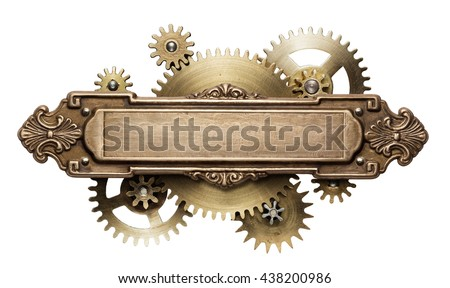 Stylized mechanical steampunk collage. Made of metal frame and clockwork details.