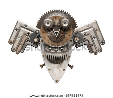 Stylized metal collage of owl, isolated. - stock photo