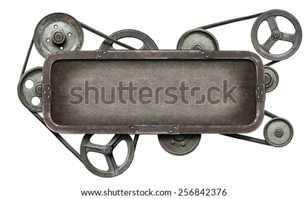 Stylized metal mechanical collage background - stock photo