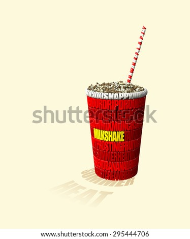 Stylized milkshake made from words related to sweets and summer. - stock photo