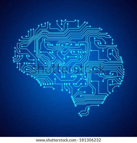 Stylized mind. Circuit board texture. Raster version - stock photo