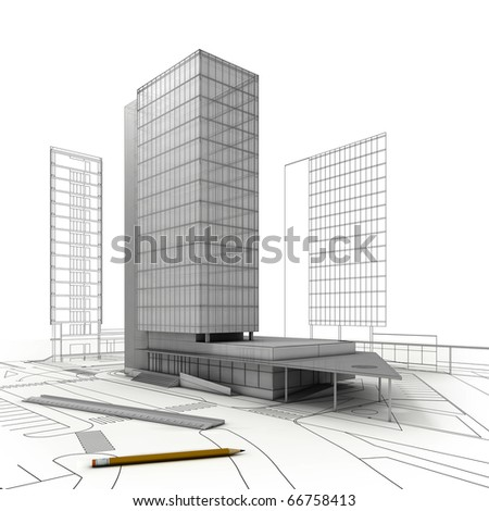 stylized modern building  with drawings, ruler and  pencil, isolated on white  background - stock photo