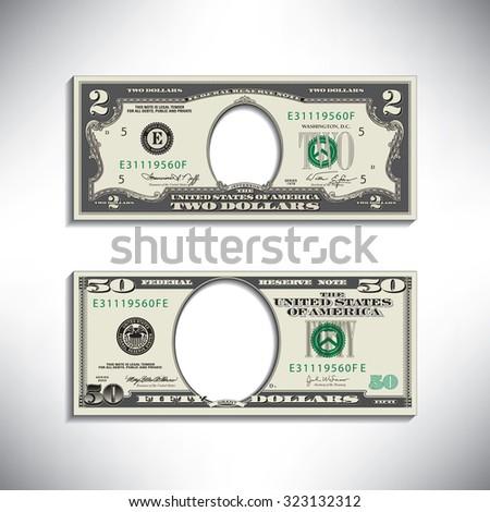 Stylized money looses face - stock photo