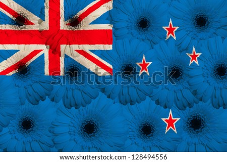 stylized national flag of new zealand with gerbera daisy flowers as concept and symbol of love, beauty, innocence, and positive emotions - stock photo