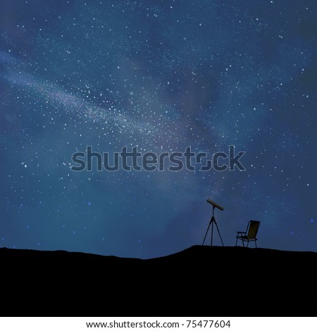 Stylized night sky and telescope in silhouette with a chair - stock photo