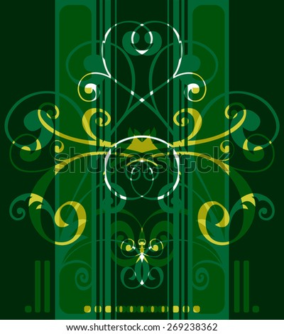 Stylized pattern with floral curves on a green background.