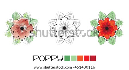 Stylized Poppy colouring, page with watercolour and flat colour examples and a black and white option to complete yourself. EPS10 vector format - stock photo