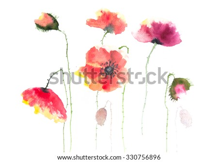 Stylized poppy flowers by hand painted, modern art watercolor on paper