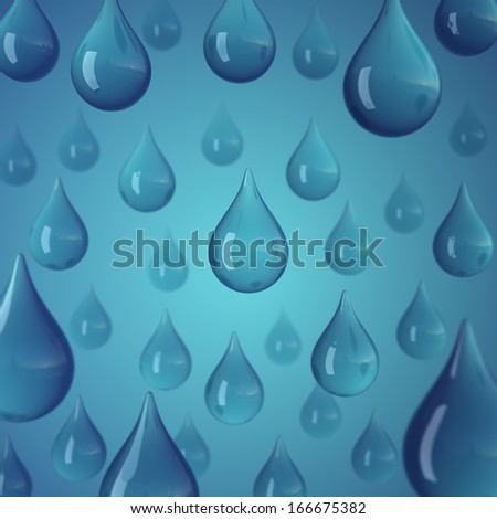 Stylized rain/water drops on the blue background. - stock photo