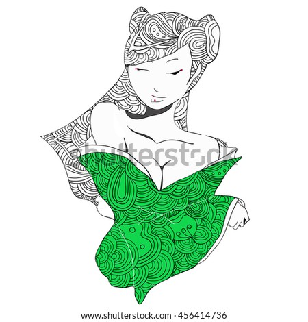 stylized raster illustration of a beautiful geisha girl in green clothes. Japanese girl. Zentangle. Doodle style. Can be used as adult coloring book, coloring page, card. - stock photo