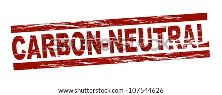 Stylized red stamp showing the term carbon-neutral. All on white background. - stock photo