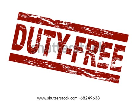 Stylized red stamp showing the term duty-free. All on white background. - stock photo