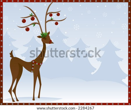 Stylized reindeer adorned in silver bells, holly and red christmas ornaments, surrounded by snowflakes and pine trees - includes a red border with silver bells - stock photo