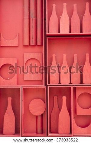 Stylized representation of a small cellar of wine bottles - stock photo