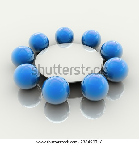 Stylized Round Table Meeting Concept, 3D Illustration - stock photo