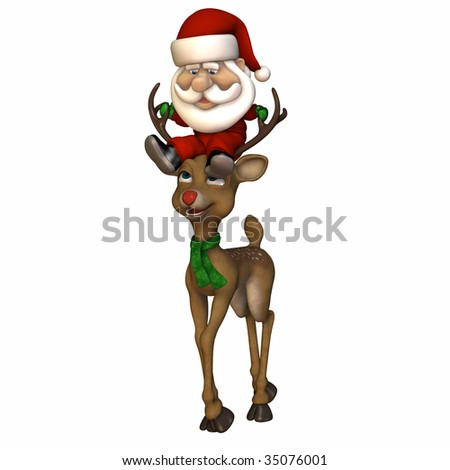 Stylized Santa riding on a reindeer's head.  Pygmy Santa. Isolated on a white background.