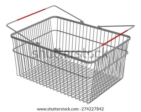 Stylized shopping basket representing the buying of goods online. - stock photo