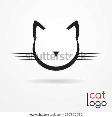 Stylized silhouette of cat's head - abstract logo - stock photo