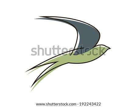 Stylized sketch of the silhouette of a graceful flying swallow bird with outstretched wings. Vector version also available in gallery - stock photo