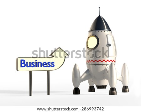 Stylized Space Rocket Ready for Launch With Signpost - Growing Business concept