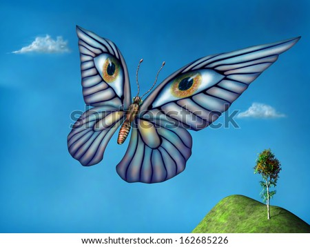 Stylized surreal butterfly flying above green hills on a summer day - stock photo