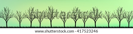 Stylized tree, Silhouettes of trees , seamless texture with trees. Skinali. Horizontal panorama trees in a forest