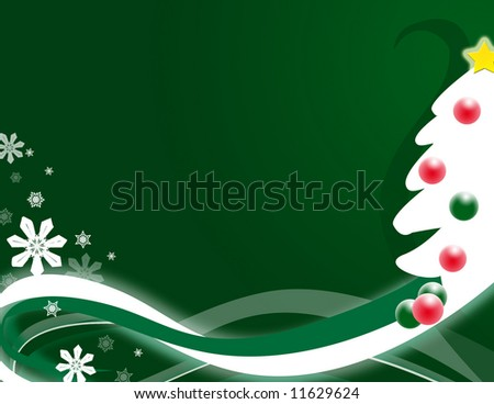 Stylized tree with abstract swirls and snowflakes. - stock photo