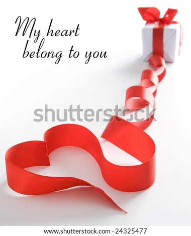 Stylized valentine heart made from red bow - stock photo
