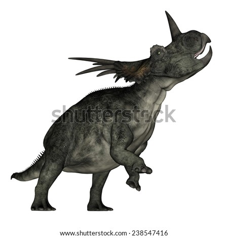 Styracosaurus dinosaur roaring in white background- 3D render - stock photo