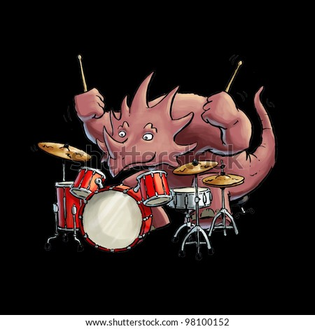 Styracosaurus playing Drums - stock photo