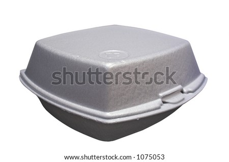 Styrofoam box for fast food - stock photo