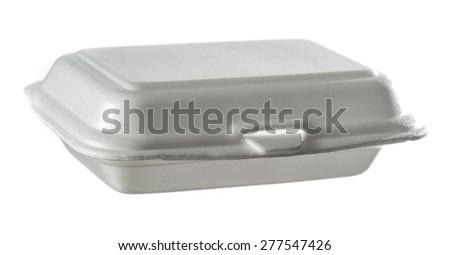 styrofoam box isolated on white - stock photo