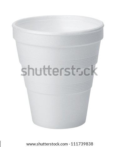 Styrofoam cup. Disposable cup with white background.
