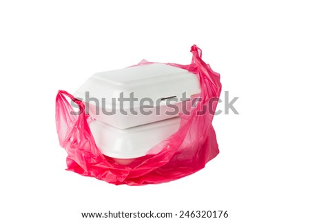 Styrofoam Lunch Boxes and plastic bag - stock photo