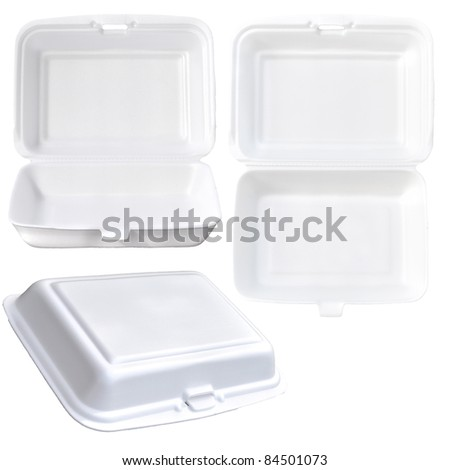 Styrofoam of food container set isolated on white - stock photo