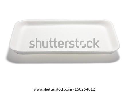 Styrofoam Tray on White Background - stock photo