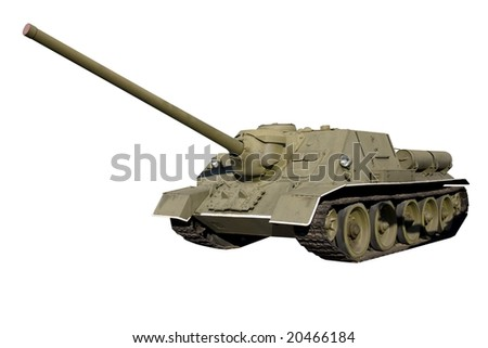 SU-100 self-propelled artillery isolated
