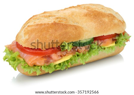 Sub deli sandwich baguette with salmon fish, cheese, tomatoes and lettuce isolated on a white background - stock photo