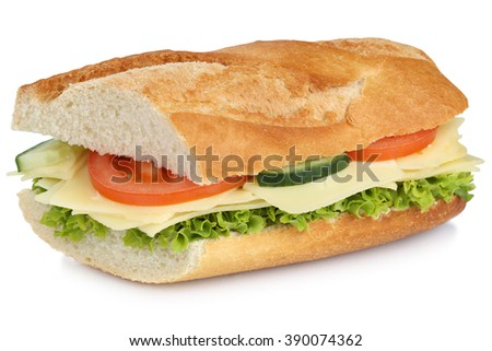 Sub sandwich baguette with cheese, tomatoes and lettuce for breakfast isolated on a white background - stock photo
