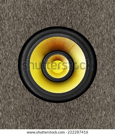 sub woofer speaker on wood texture - stock photo