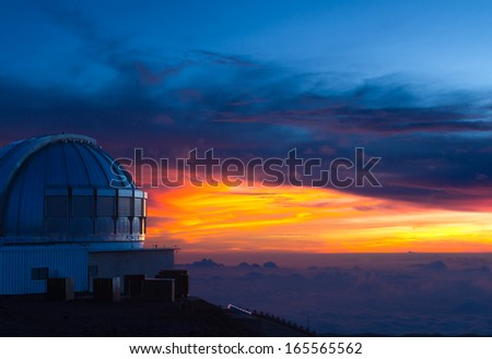Subaru observatory at sunset,  on Mauna Kea, a dormant volcano on the Big Island, Hawaii - stock photo